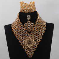 Gorgeous Red Orange Nigerian Wedding Beads Jewerly Set Champagne African Bridal Jewelry Set Christmas Gift Free Shipping QW158