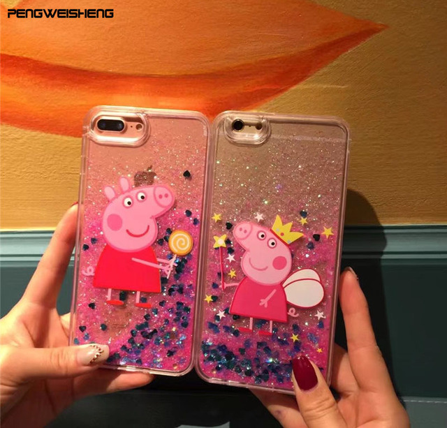 premium selection 13575 3d0ab US $3.99 |Cute Peppa Pig Bling Glitter Case For iPhone 6 Case For iPhone 6S  7 PLus Clear Cartoon Phone Case Dynamic Liquid QuickSand Cover-in Fitted ...