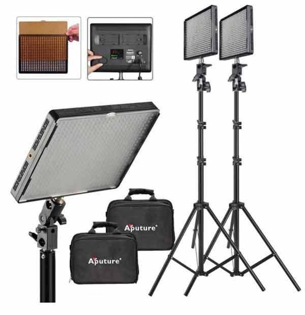 2 SET 2 Aputure Amaran AL 528W LED Video Light 200cm Light Stand LED Lighting