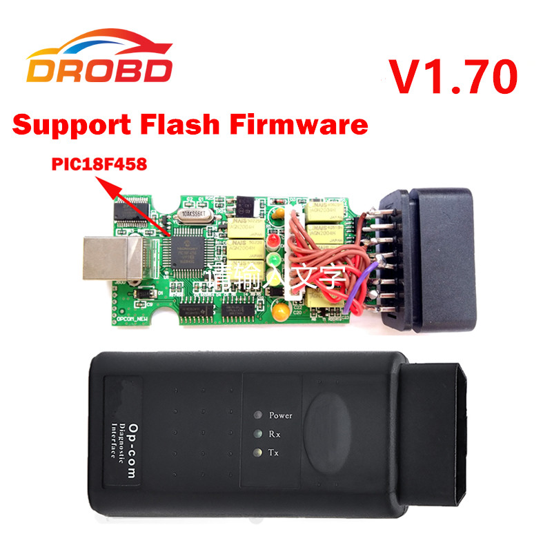 V1.70 Version OP COM Diagnostic Tool OBD2 Scanner with Real PIC18F458 Chip OP-COM/OPCOM For OPEL VAUXHALL Support Flash Firmware