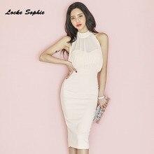1pcs High waist Ladies Plus size party dresses 2019 Autumn cotton mesh Splicing backless Slim fit Dress womens Skinny