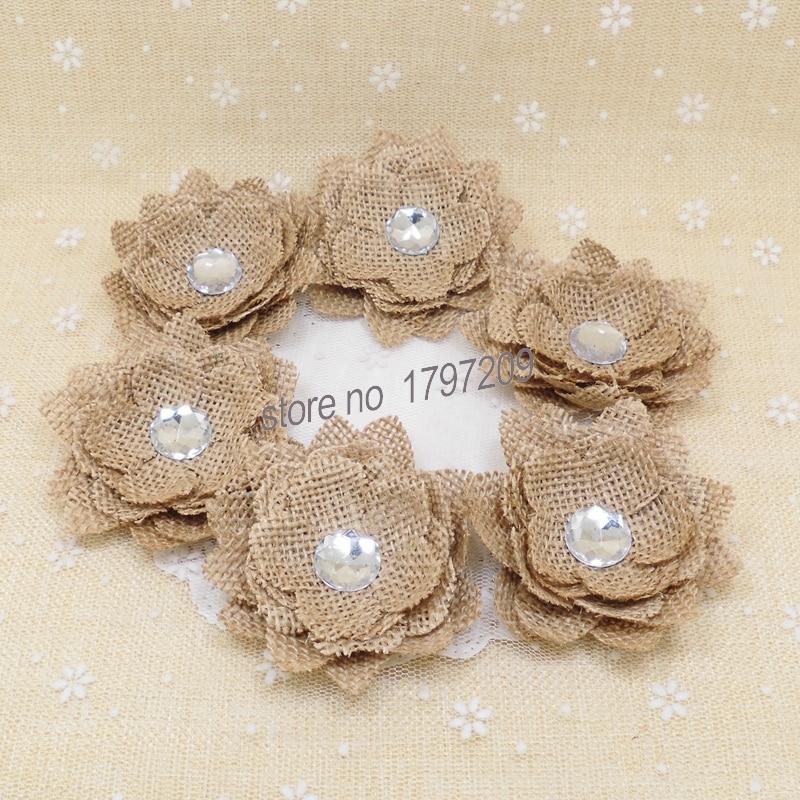 6pcs natural jute hessian flower burlap rose craft accessories vintage wedding centerpieces. Black Bedroom Furniture Sets. Home Design Ideas