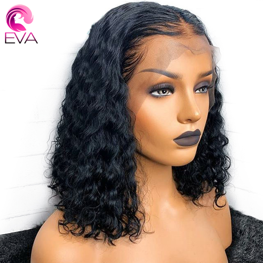 Eva 13x6 Lace Front Human Hair Wigs Pre Plucked With Baby Hair Brazilian Remy Glueless Short Bob Curly Hair Wigs For Black Women