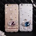 Роскошный Горный Хрусталь Кристалл Алмаза Лебедь Телефон Случаях Coque Задняя Крышка для iPhone 5s 5 SE 6 s 6 7 Plus для Samsung Galaxy случае