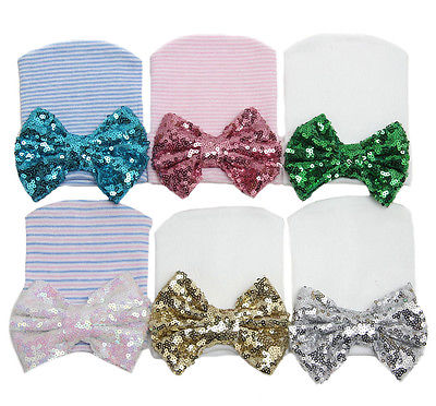 Cute Infant Newborn Baby Girls Stripe Sequined Super Bowknot Beanie Hat Knit Cap
