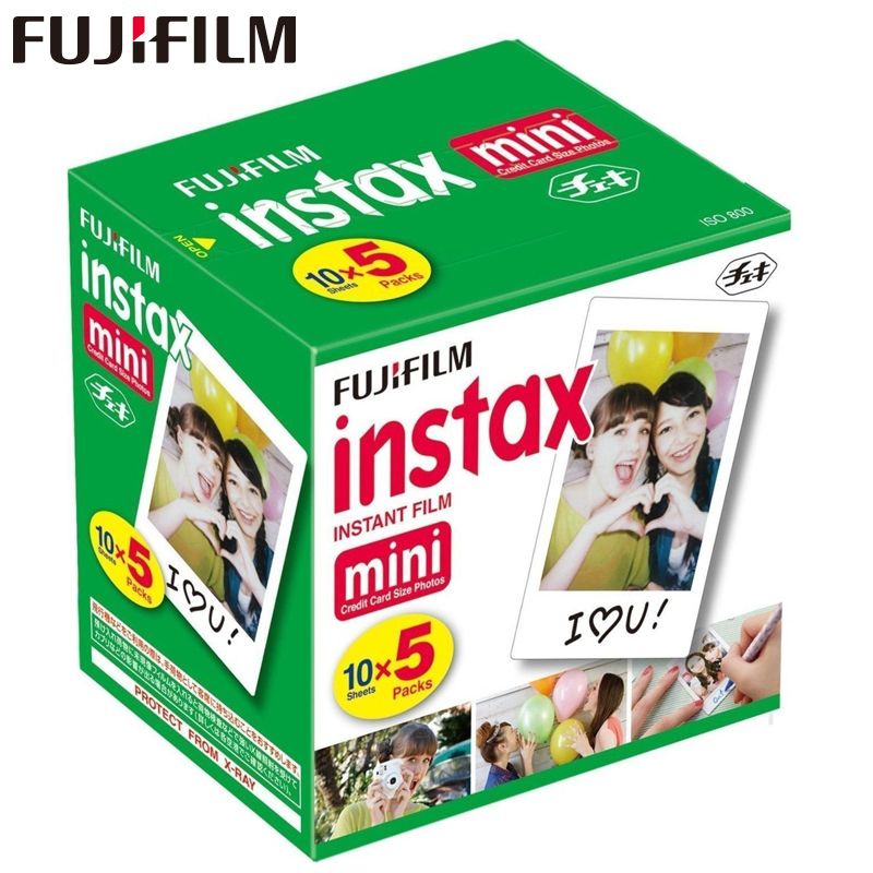 Original Fuji Fujifilm Instax Mini 8 Film White Edge Photo Papers For Mini 9 7s 90 25 55 Share SP-1 Instant Camera 50 sheets