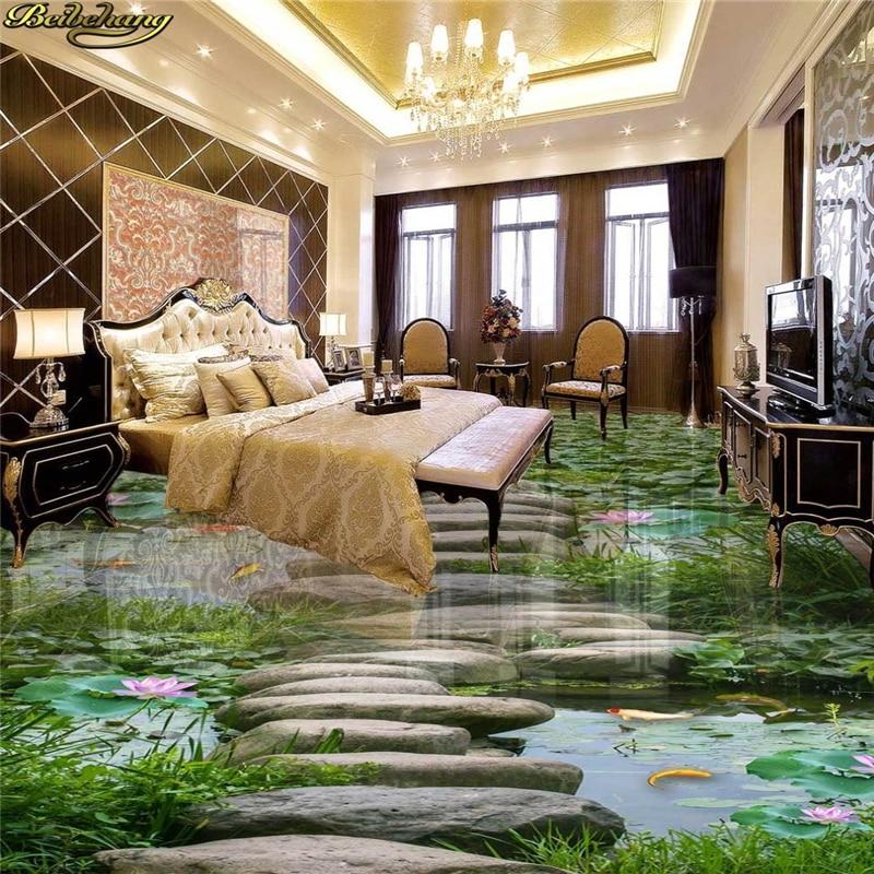 US $19.8 40% OFF|Beibehang Individuelle fototapeten 3D selbstklebende PVC  boden malerei lotus bad küche gehweg 3D boden paste wand papier-in Tapeten  ...
