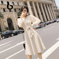FINEWORDS Long Sleeve V neck Knitted Dress Women Luxury Sashes Autumn Winter Sweater Dress Ladies Sexy Elegant Pullover Dress