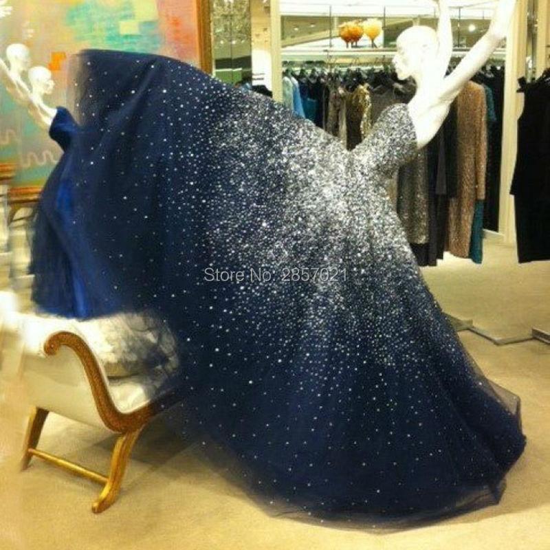 Real Photo Navy Blue Sparkling   Evening     Dress   with Silver Crystal Bling Bling Prom   Dresses   Long vestido de festa Custom Made