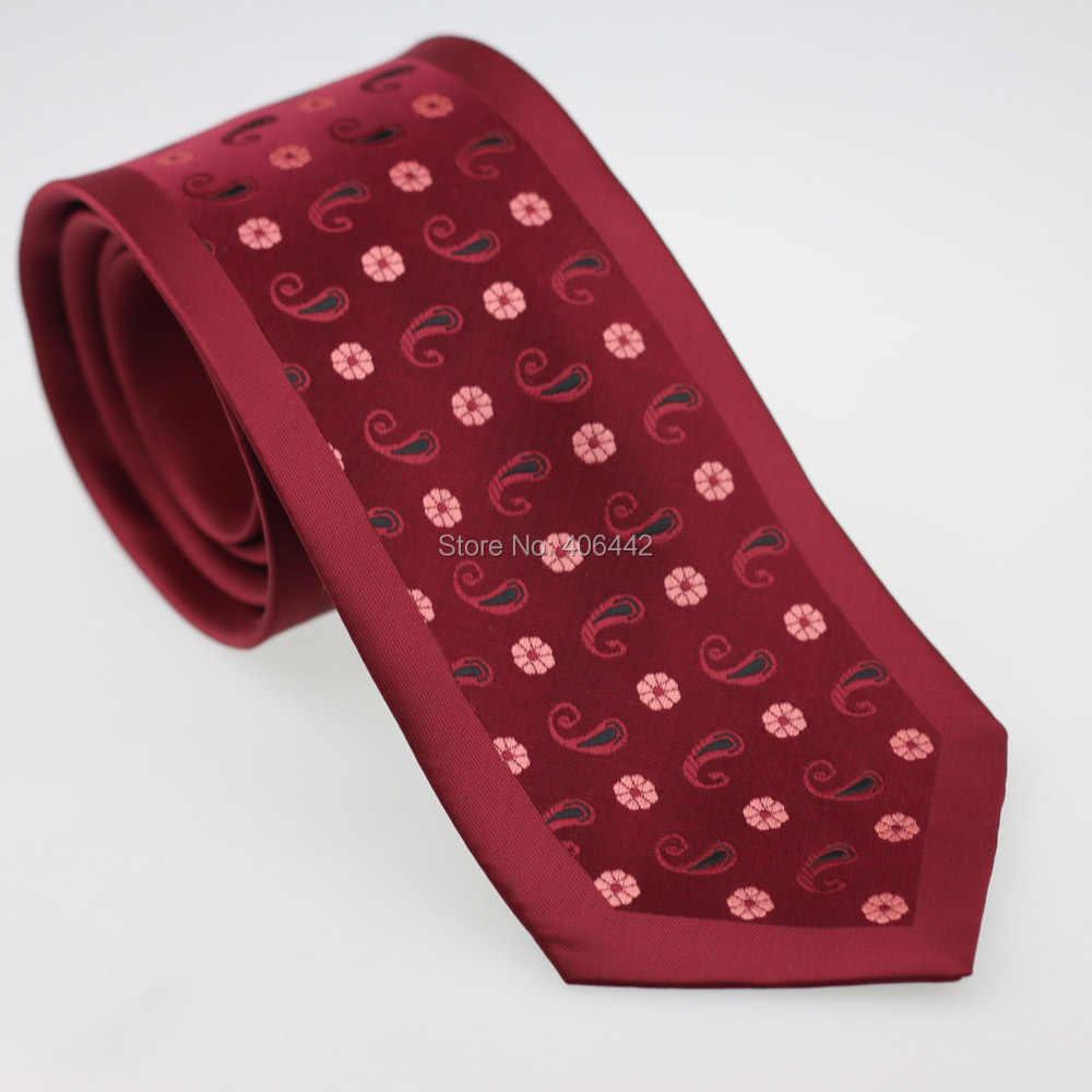 Coachella hubungan laki-laki perbatasan merah dengan merah muda motif bunga Microfiber tenunan dasi, Leher resmi dasi untuk kemeja pernikahan