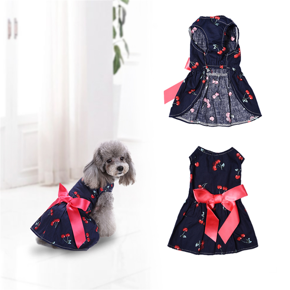 Dog Dresses Hospitable Direct Selling High-quality Cherry Patterns One-piece Puppy Dog Dress Pet Princess Summer And Spring Vest Clothes 1pcs Shipping Convenient To Cook