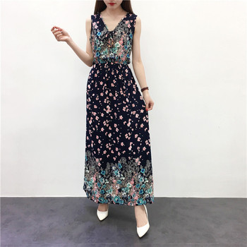 2019 Summer Women Long Dress Casual National Wind Floral Print Dress V Neck Sundress Sleeveless Lady Vintage Beach Holiday Dress