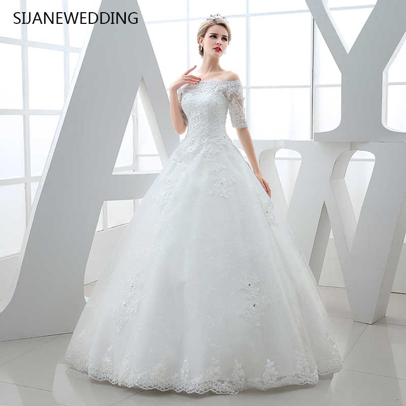 90cadcc85 SIJANE кружево короткий рукав Свадебная повязка назад Принцесса бальное платье  Пол Длина Свадебное D 0399