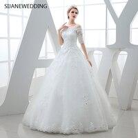 SIJANE роскошные белые кружева короткий рукав платье повязки Вернуться Платье принцессы пол Длина бальное платье 0399