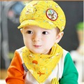 Nueva llegada de 100% algodón natural 4 colores lindo bebé de béisbol cap con el Bebé Babero Niños Y Niñas Elegante Boina Tapas Conjunto Babero