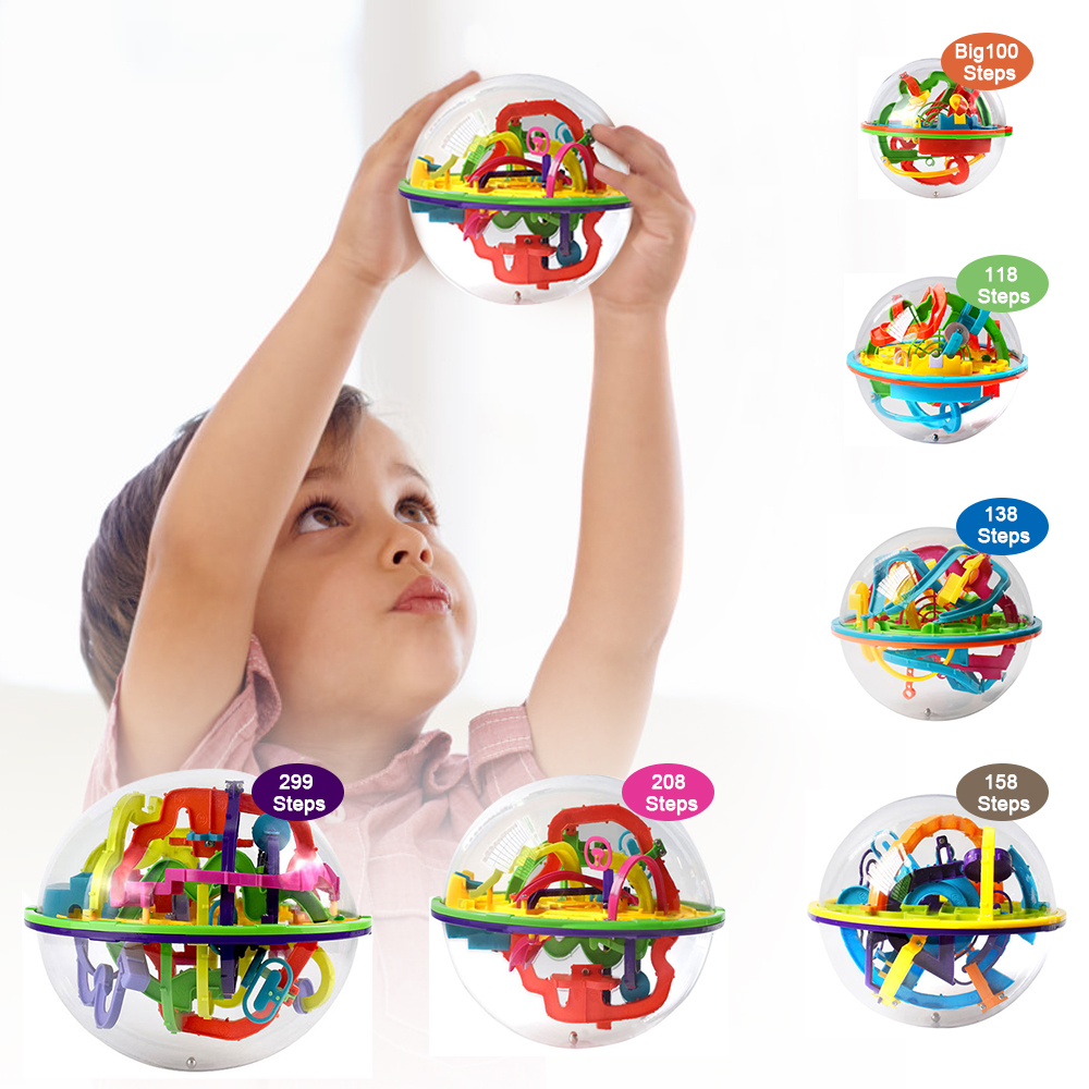 299 Step 3D Puzzle Ball Magic Intellect Ball Labyrinth Sphere Globe Toys Challenging Barriers Game Brain Tester Balance Training
