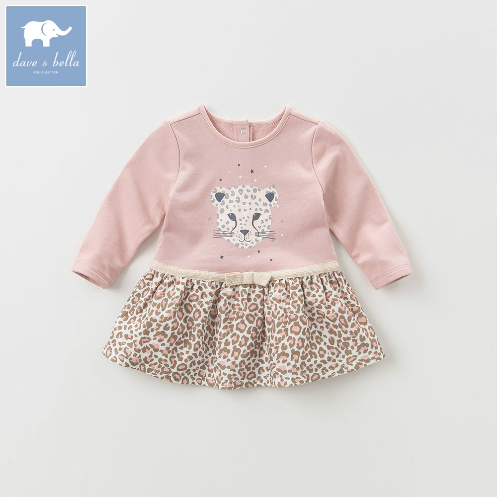 DBZ6176 dave bella baby girl lolita dress stylish printed lovely dress toddler children dress open shoulder printed dress