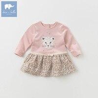 DBZ6176 dave bella bebê menina vestido lolita elegante impresso lindo vestido criança crianças vestido