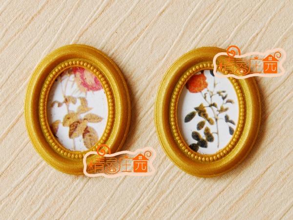Мини кукольный домик мини-мебель аксессуары золотой раме Декоративные картина роза 2 Ретро