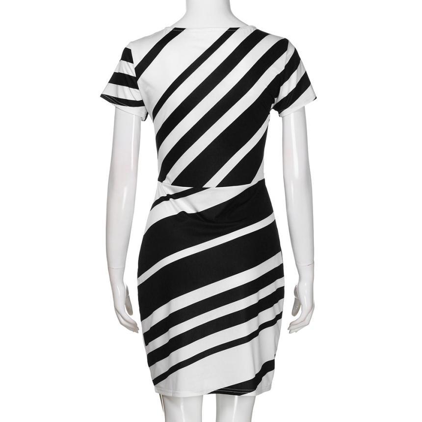 HTB1ZBEltH1YBuNjSszhq6AUsFXaW KANCOOLD dress Summer fashion Women's Working Pencil Stripe Party Casual O-Neck Mini high quality dress women 2018MA27