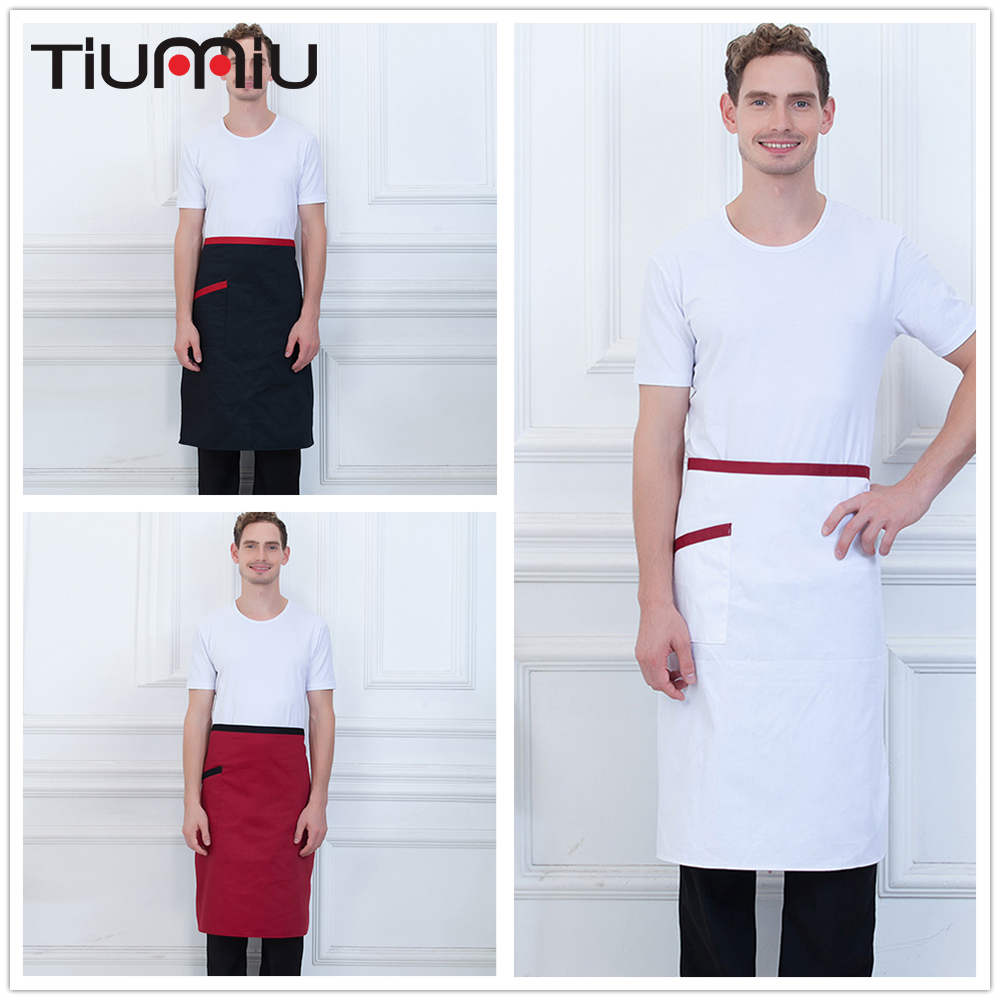 Black White Red Chef Apron With Pocket High Quality Wholesale Unisex Kitchen Hotel Coffee Shop Bakery Chef Waiter Workwear Apron