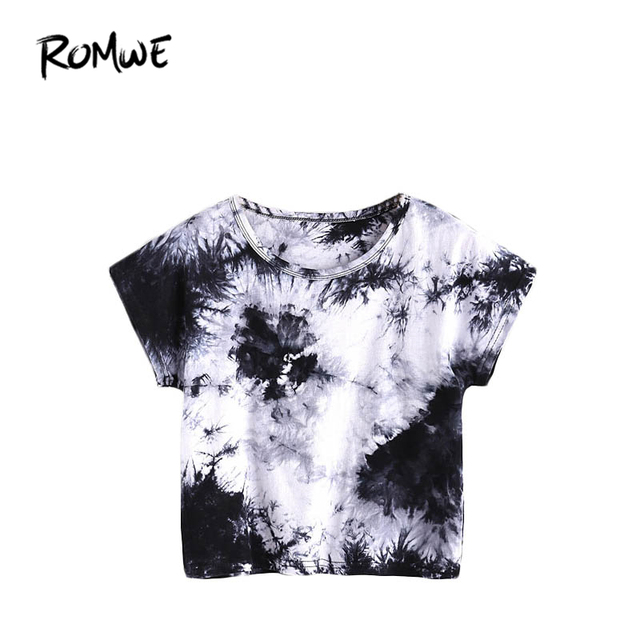 85dd505be074 ROMWE Summer Womens Tee Shirts Women Tops Summer 2018 Black and White Water  Color Tee Short Sleeve Tie Dye Casual T-shirt