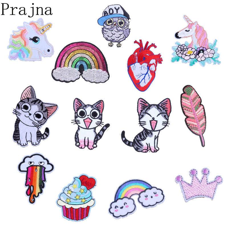 Prajna Stolz Herz Einhorn Patch Katze Eule Eisen Auf Gestickte Patches Für Kleidung Aufkleber DIY Kinder Nette Cartoon Patches Abzeichen