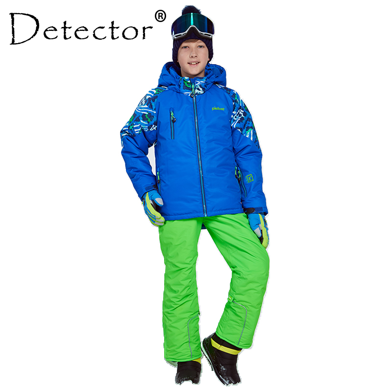 Detector Winter Thicken Boys Clothing Outdoor Set Snowboard Ski Set Jacket Pants Winter Twinset Suitable -20-30 degree printed jacket and pocket design pants twinset