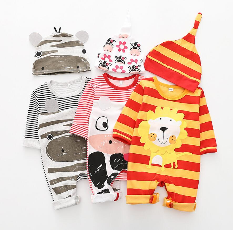 Lovely Cartoon Milk cow baby boy's girls clothing autumn long sleeve lion hippo baby cotton   rompers   with HAT jumpsuits