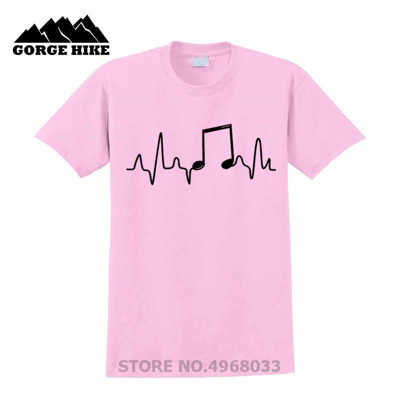 Müzik Notu Yaz Moda Aşk Trompet T Gömlek Erkekler Kısa Kollu Pamuk O-boyun Kalp Atışı T-shirt Erkek Sevgilisi ve Müzisyenler TShirt