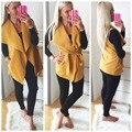 Kaywide Winter Vest Women 2016 New Arrival Pocket Design Turn Down Collar Fashion Blazers Vest Femme Plus Size Belt Coat A16702
