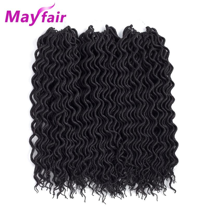"Mayfair 3 Packs Faux Locs Ricci Capelli Crochet 18 ""24 Stand Onda Profonda Faux Locs Capelli Sintetici Faux Locs Capelli Crochet 55 G/pacco"