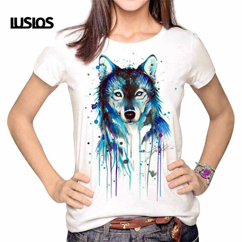 LUSLOS Oil Painting Wolf Printing Women Female Tshirt Summer Short Sleeve NEW Fashion T Shirt Casual Women White Tops S-3XL