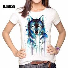 LUSLOS Oil Painting Wolf Printing Women Female Tshirt Summer Short Sleeve NEW Fashion T Shirt Casual Women White Tops S-3XL