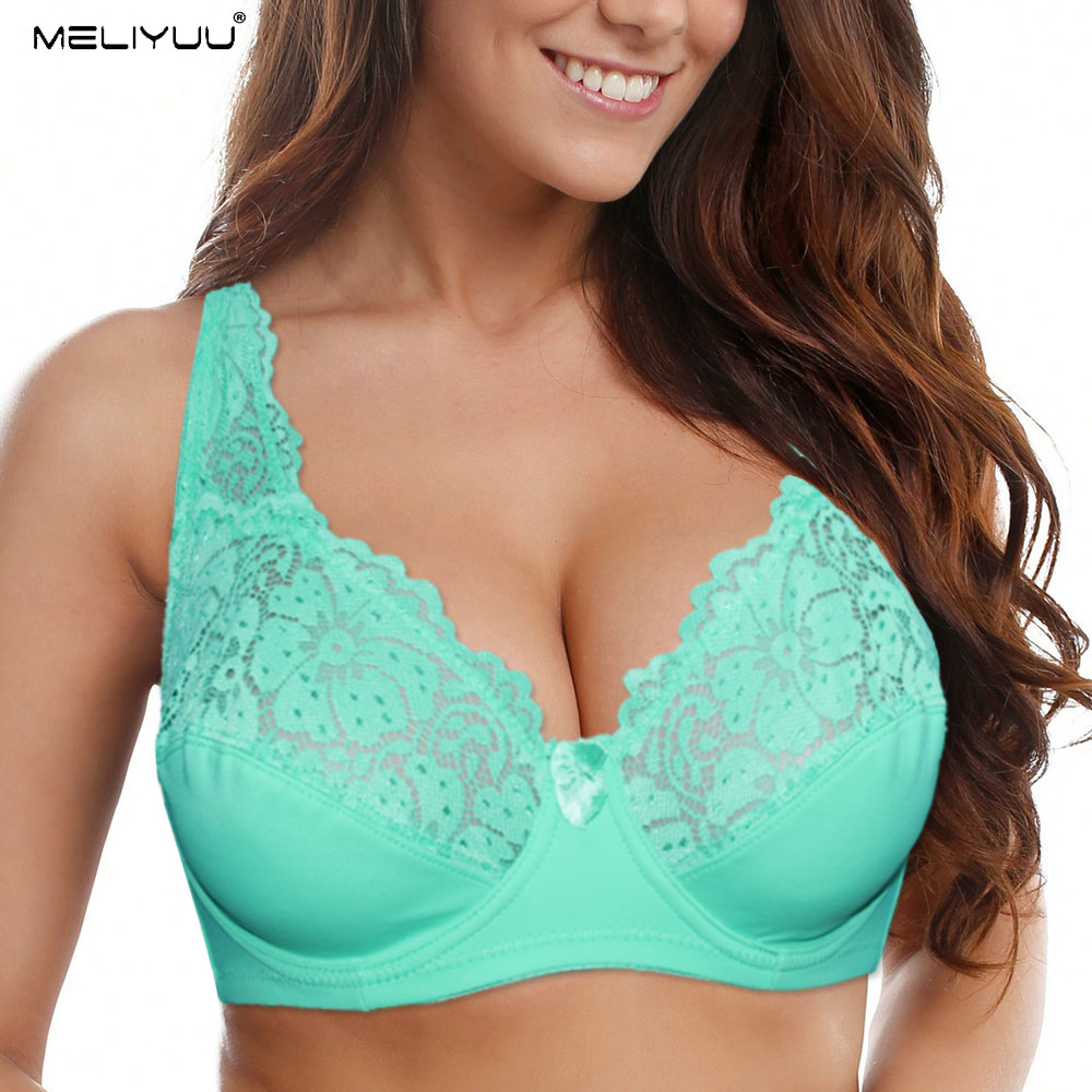 New Transparent Unlined Lace Bras For Women Plus Size Bra Embroidery Floral Plunge Bralette Sexy Lingerie Underwire Brassiere BH