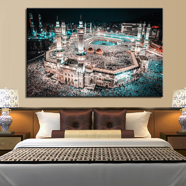 Mecca Islamic Caaba Landscape Canvas Painting Prints Wall Living Room No Frame