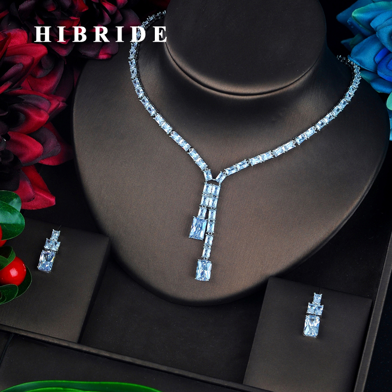 HIBRIDE Fashion Square Cubic Zircon Jewelry Sets Women Bridal Jewelry Crystal Pendent Choker pendientes mujer Set N-656 hibride luxury design yellow cubic zircon pendientes mujer jewelry sets women bridal dress accessories bijoux mariage gift n 520