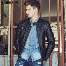 AIOPESON Slim Fit Jackets Men High Quality PU Leather Jacket Man Zipper Decoration Black Stand Collar Men's leather Jacket