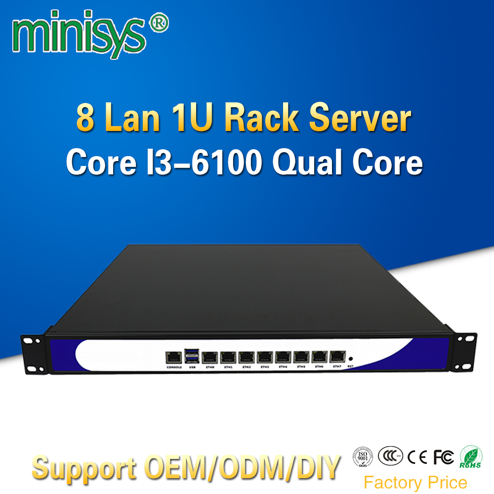 Minisys nouveau 1U Rack Server 8 Intel i211-AT réseau Lan sécurité ordinateur routeur VPN avec Core i3 6100 CPU pour ROS Pfsense