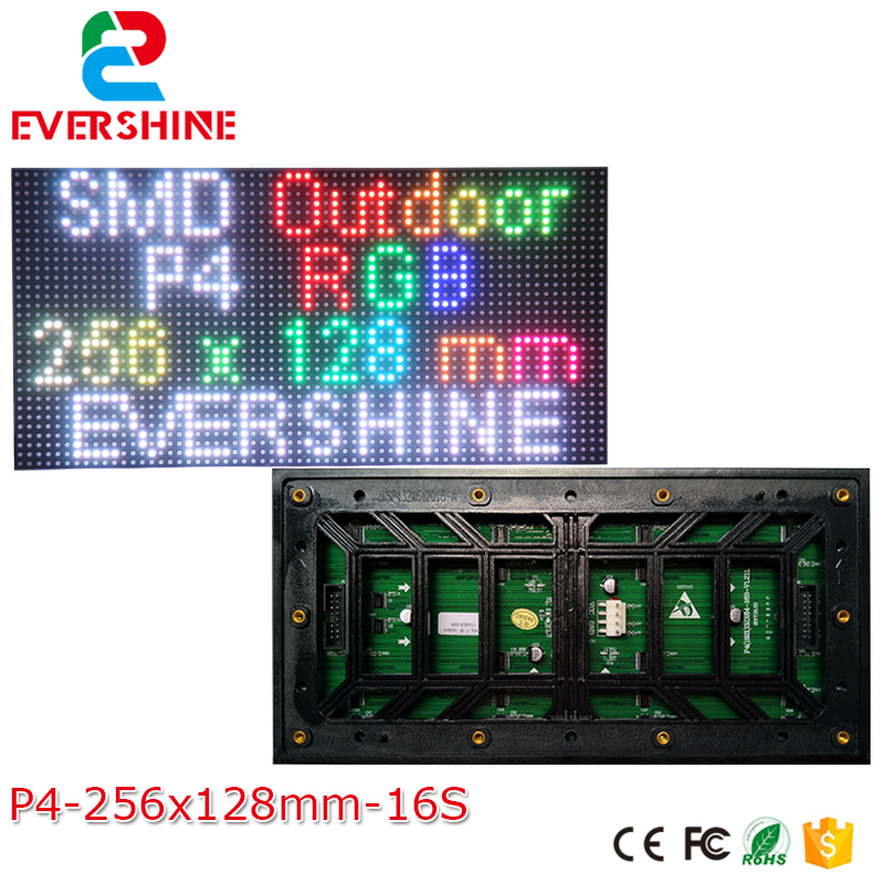 Outdoor Full Color Video LED Display Screen P4 Outdoor LED RGB Module SMD1921 64x32 Pixels module size 11''x6'' high quality p10 outdoor full color rgb dip led panel 4pcs 1 mw power supply 1contrller all cables diy led display module kits