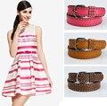 2016 de Las Mujeres de alta calidad de LA PU estilo OL cinturón remache cinturón de hebilla para las mujeres