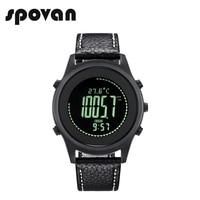 SPOVAN Ultra Thin Sport Climbing Watch for Men, Carbon Fiber Dial, Genuine Leather Watchband,compass Altimeter/Barometer Beyond8