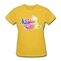 Unicorn Sihirli Kadın Tişörtlerin üzerinde logo Baskı Ucuz XS-XL Yellenme Rainbows t-shirt Online Alışveriş kadın Tops