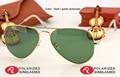Hot sale clássico mulheres óculos de sol dos homens do desenhador do vintage da moda óculos de lente polarizada verde do quadro do ouro 58mm caso caixa