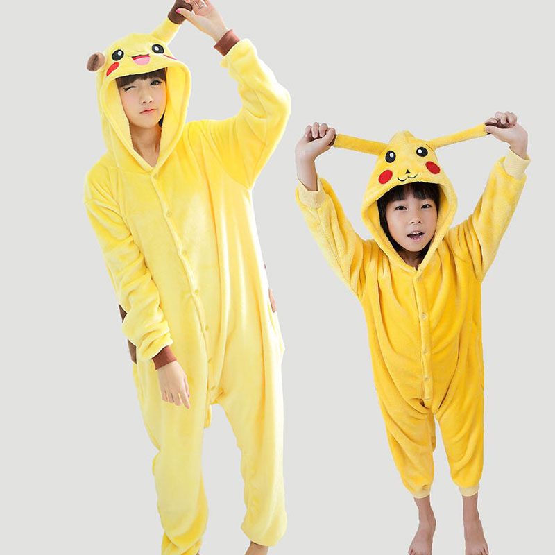 Anime Pikachu Pokemon Pijama Onesie For Monther Daughter Family Pajamas Set Winter Flann ...