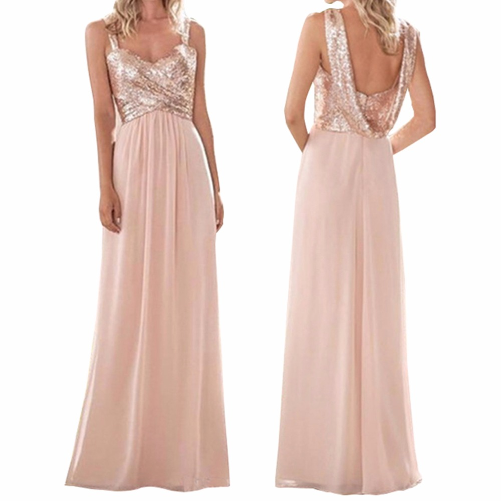 Bridesmaid     Dresses   with Rose Gold Sequins A Line Spaghetti Backless Chiffon Long Beach Wedding Guest   Dresses   Maid of Honor Gown