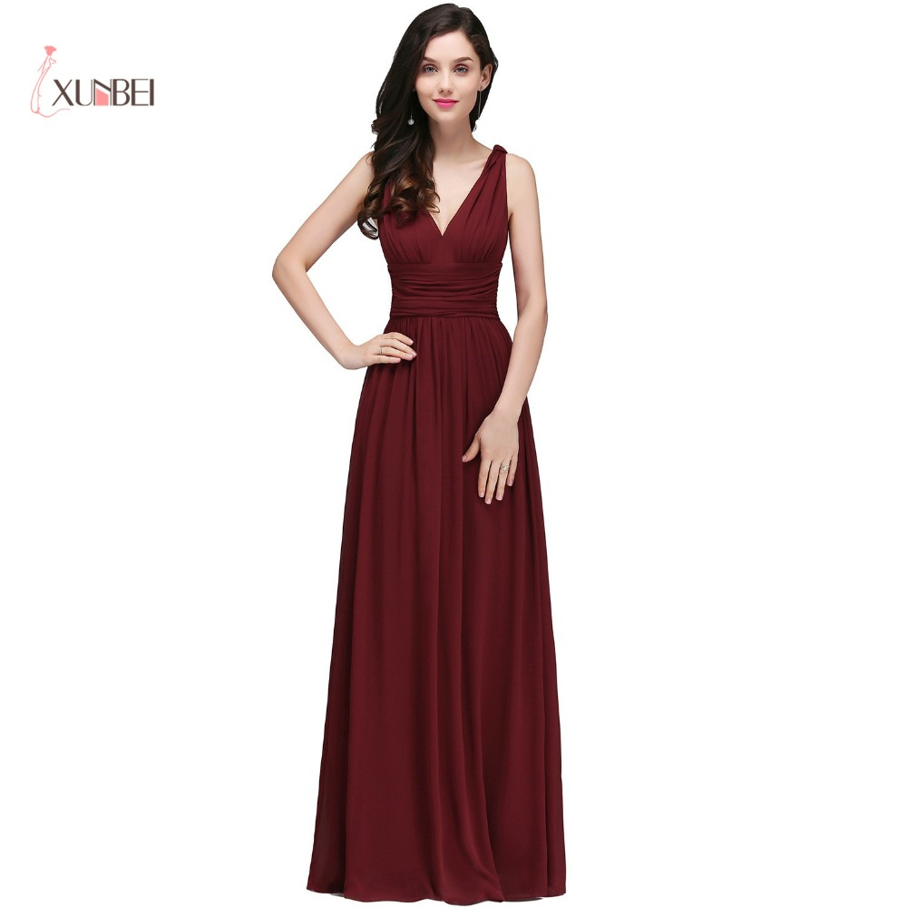 Elegant Burgundy V Neck Long   Evening     Dresses   2017 Sleeveless Chiffon Ruched Formal Party   Dresses   vestido de festa