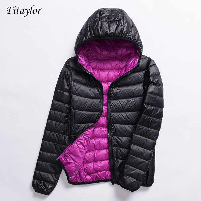 Fitaylor 2020 New Women Ultra Light Down Jackets Casual Double Side Reversible Coats Plus Size 4XL Female Outwear With Bag