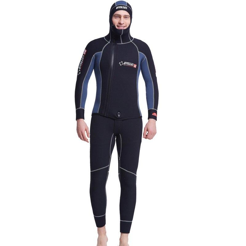 Men Spearfishing Keep Warm Wetsuit 5mm Neoprene Plus Size Swimsuit Dive Surf Swim Suit H ...