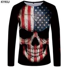 KYKU Skull Long Sleeve T-shirt Women American Flag Tshirt Star 3d Print T Shirt Punk Rock Womens Clothing Streetwear Summer Tops